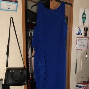 royal blue prom dress & earrings